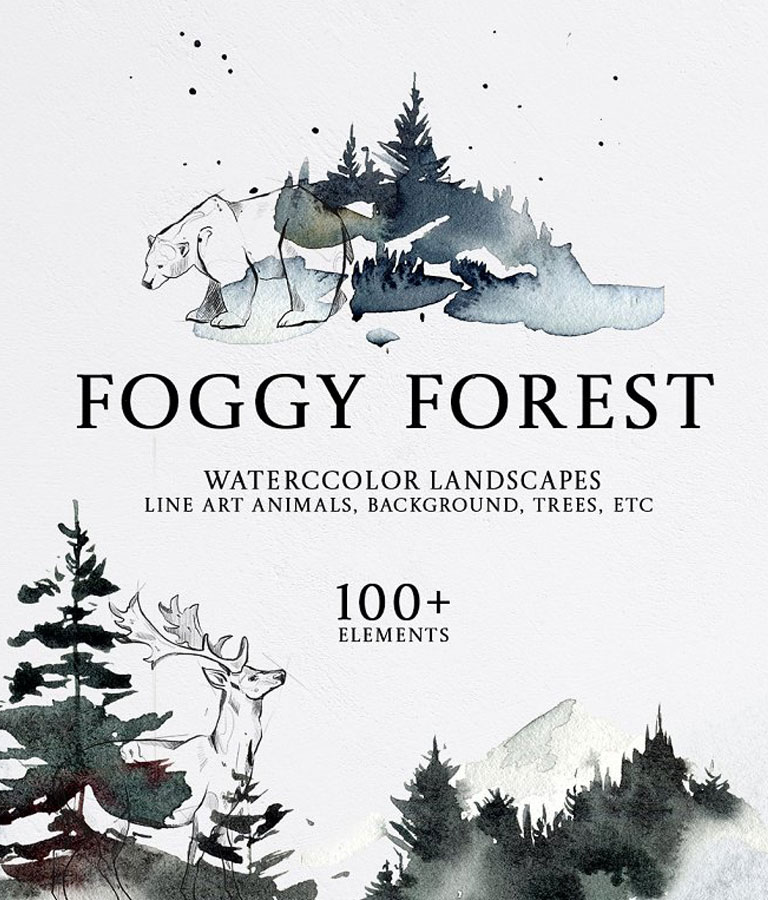 FOGGY FOREST Watercolor