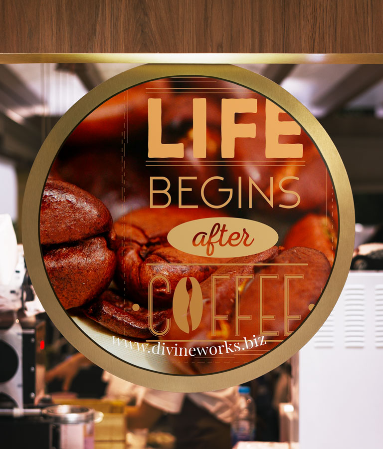 Round Cafe Signage Mockup