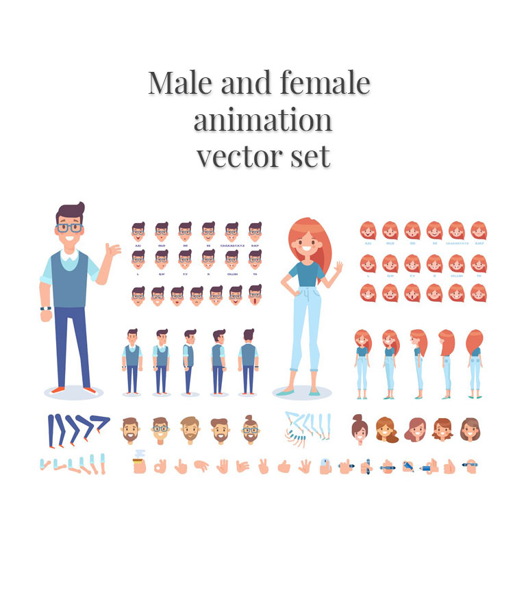 Male and Female Animation Vector