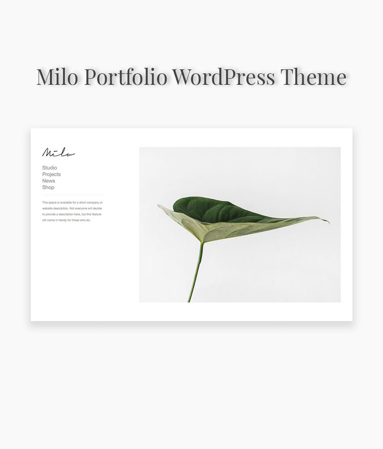 Milo Portfolio WordPress Theme