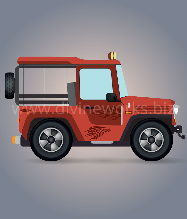 Offroad Jeep Vector Illustration