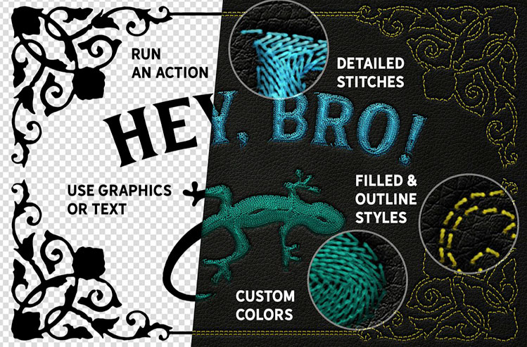 Machine Embroidery Photoshop Actions