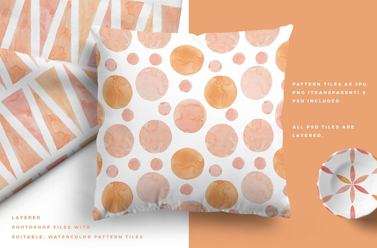 Sunset Watercolor Seamless Patterns