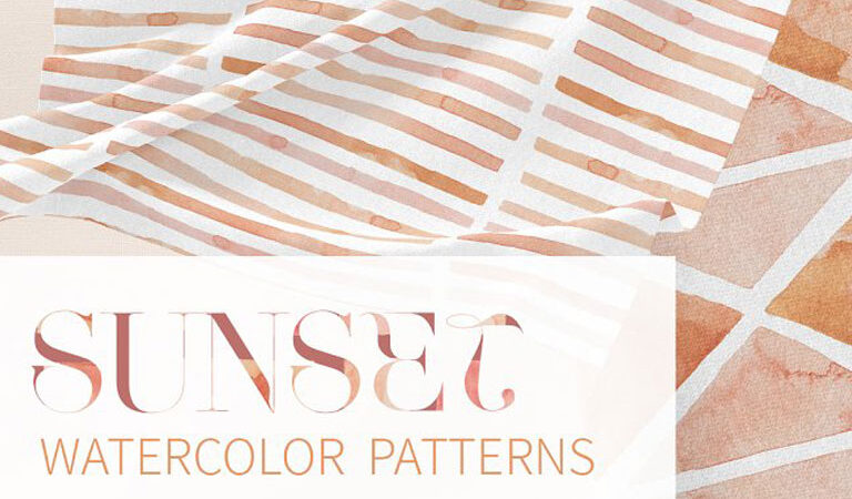 Sunset Watercolor Seamless Patterns