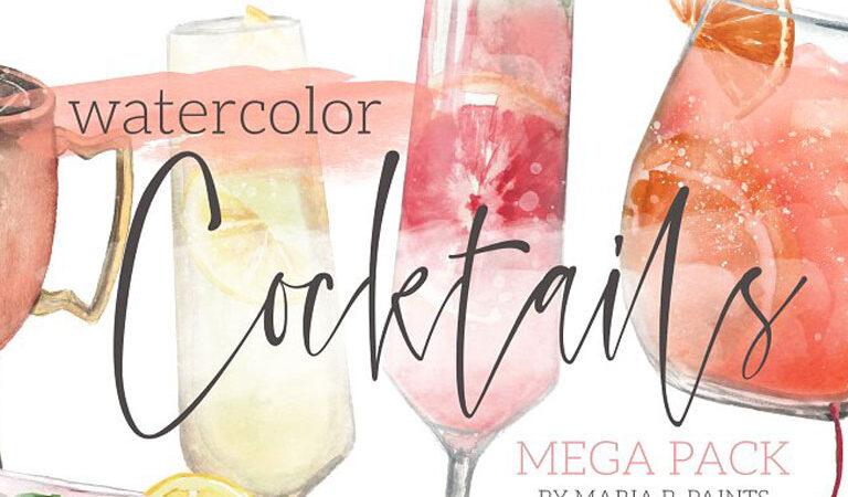 Cocktail Watercolor Clipart Set
