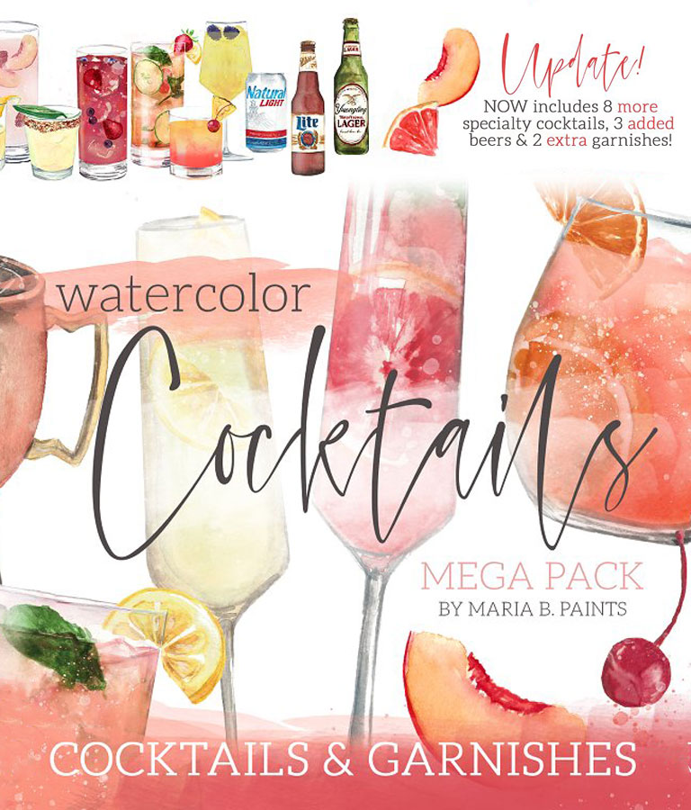 Cocktail Watercolor Clipart