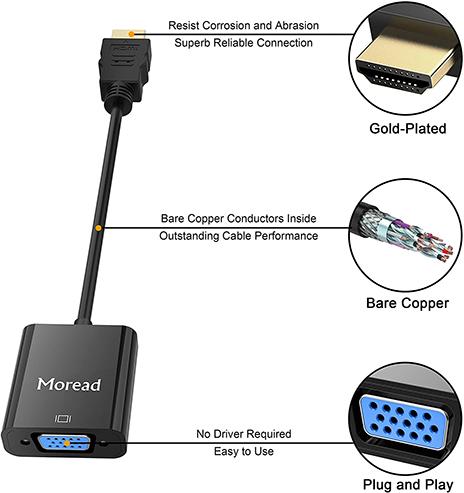 Moread HDMI to VGA, Gold-Plated HDMI to VGA Adapter