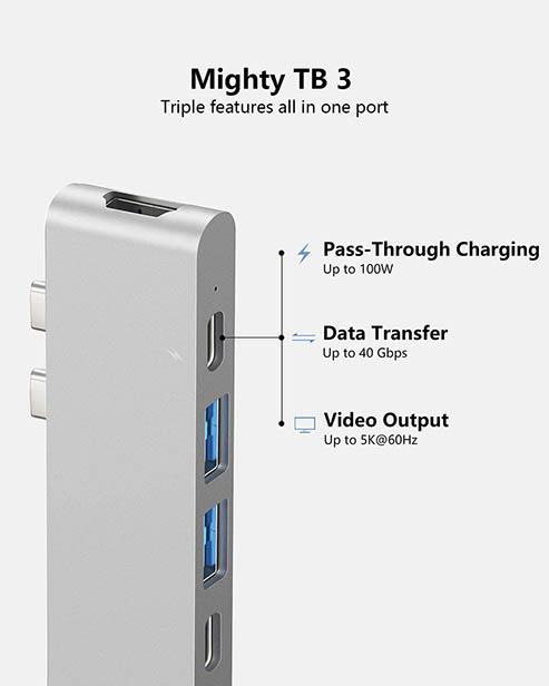 Purgo USB C Hub Adapter Dock for MacBook Air