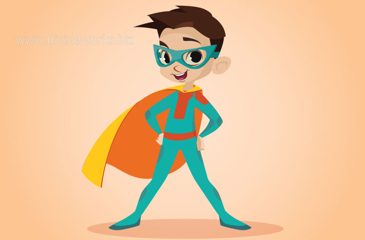 Download Free Super Kid Vector Character by Divine Works