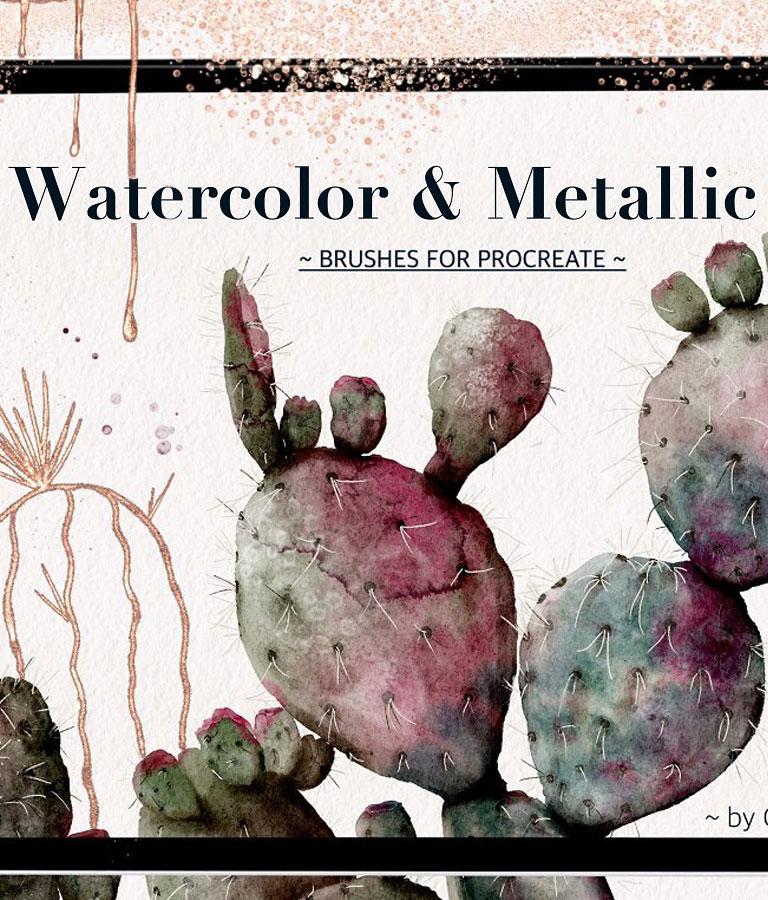 Watercolor & Metallic Brushes
