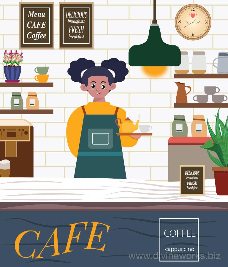 Cafe Shop Vector Art