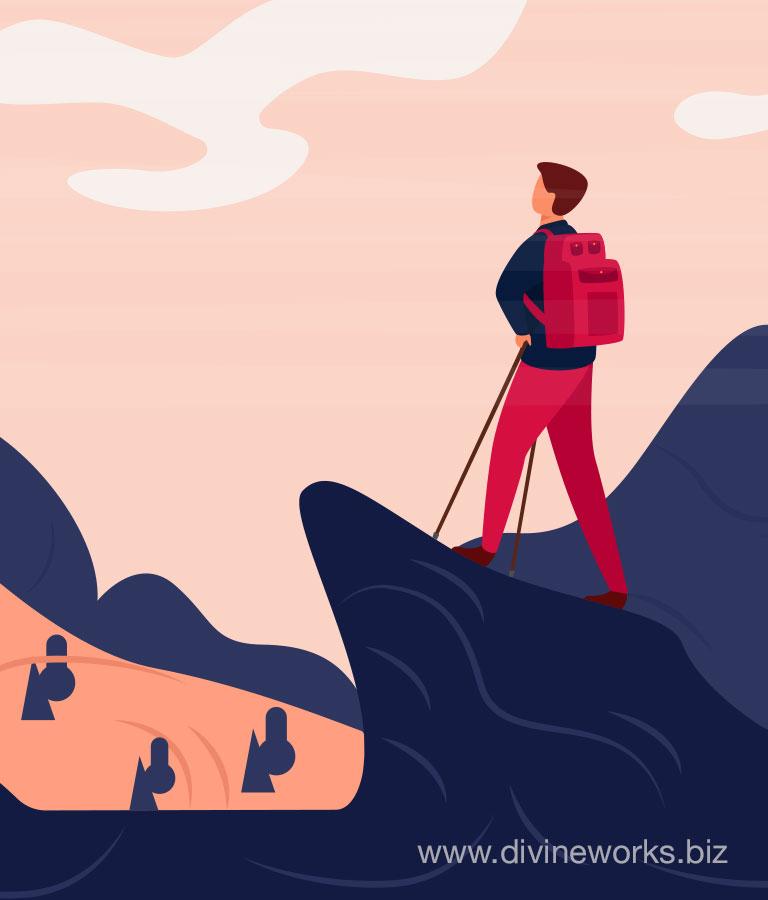 Man On Hill Vector Illustration