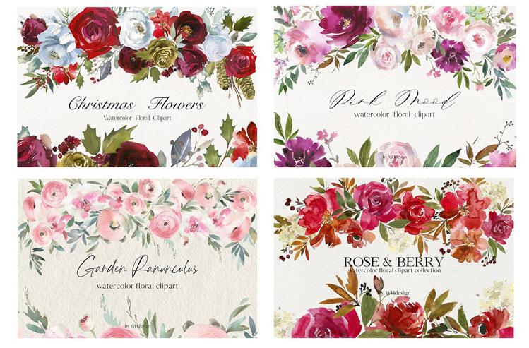Watercolor Floral Bundle 90 in1